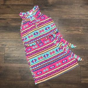 All For Color Aztec Sleeveless Waist Tie Dress